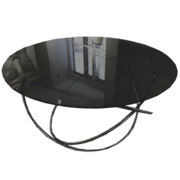 Króm Retro Ellipszis Asztal Fekete Üveglappal