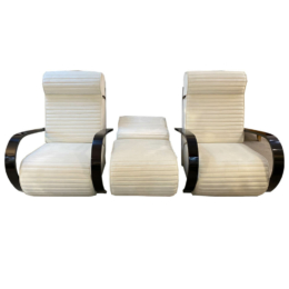 Art Deco Fehér Fotel Pár Lábtartóval