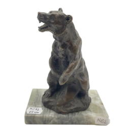 Bronz Medve - Nyitott Szájú-  Kő Talpazaton
