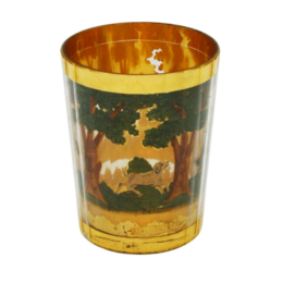 Zwischengoldglas. Antik Pohár. Vadászmotivumos Jelenet. Duplafalú Üveg, Közötte Jelent