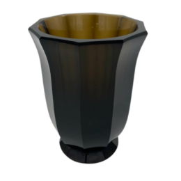 Moser Karakterű Sárgás-Barna Üveg Váza
