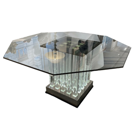 Plexi Oszlopos Neon Világítású Asztal Mid-Century
