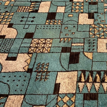 Retro Kék Falikárpit, Geometrikus - Világoskék -